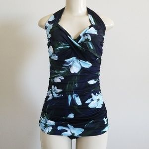 One Piece Halter Top Floral Swimsuit B-20